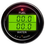 SPA Design Digital Dual Gauge - Fuel Pressure / Water Temperature