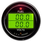 SPA Design Digital Dual Gauge - Fuel Pressure / Volts