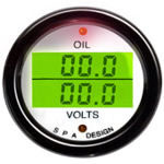 SPA Design Digital Dual Gauge - Oil Pressure / Volts