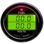 SPA Design Digital Dual Gauge - Fuel Level / Volts